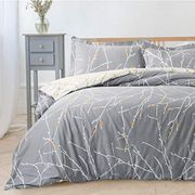 Printed Duvet Cover Set King Size Grey & Ivory Branch Pattern 3 Pics