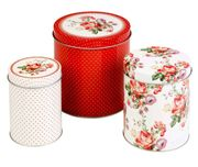 Set of 3 Tea Coffee Sugar Storage Tins