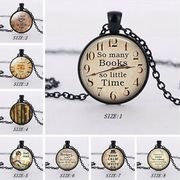 Glass so Many Books so Little Time Pendant Necklace