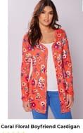 Coral Floral Boyfriend Cardigan - Save £20.01