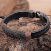 New Surfer Mens Vintage Hemp Wrap Leather Wristband Bracelet Cuff Only £0.99
