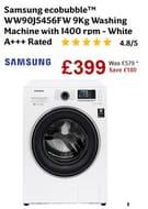 £180 OFF! Samsung Ecobubble 9Kg 1400 Spin Washing Machine - WW90J5456FW