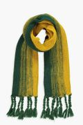 Striped Knitted Tassel End Scarf