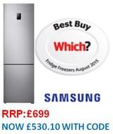 SAVE £168. Samsung RB37J5230SS Freestanding Fridge Freezer -Titanium