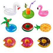 Inflatable Drink Holder 9 Pcs Inflating Floating Drink Coaster Cup Holders