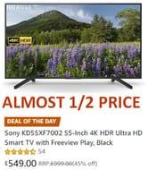 45% off - Sony KD55XF7002 55-Inch 4K HDR Ultra HD Smart TV