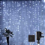 LE 306 LED Curtain Lights, 3m X 3m Plug in White Decorative Lights - Save £8