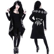Punk Hooded Cloak Cardigan Womens Black Gothic Hoodie Jacket Occult Witch A9K2