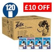 £10 OFF & FREE DELIVERY. Felix As Good As It Looks - Fish In Jelly 120 PACK