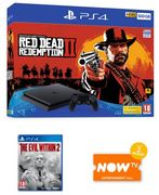 500GB PS4 WITH RED DEAD REDEMPTION 2 + THE EVIL WITHIN 2 & NOW TV
