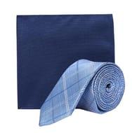 Burton - Blue Check Tie and Navy Pocket Square Set