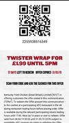 KFC Twister Wrap for £1.99 Using the App before 5pm