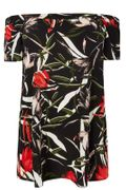 Black & Multi Floral Print Chiffon Bardot Top