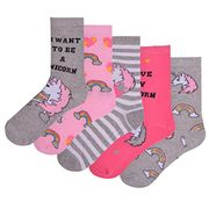5 Pairs Womens Unicorn Design Socks Coloured Cotton Rich Size 4-7