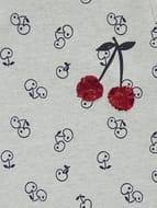 Grey Cherry Print Long Sleeve Sweater Dress
