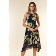 Wallis - Petite Navy Floral Print Fit and Flare Dress