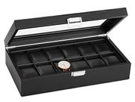 12 Watch Storage Box - Luxury Carbon Fiber Display Case w/Glass Top, Lockable