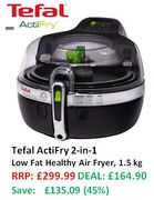 45% OFF, SAVE £135 - Tefal ActiFry 2-in-1 Low Fat Healthy Air Fryer, 1.5 kg