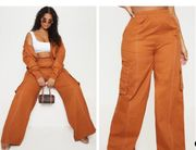 Plus Toffee Utility Pocket Wide Leg Trousers