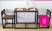 3pc Space Saving Wood & Steel Dining Table & Chairs