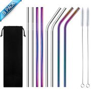 Stainless Steel Straw, Multicolor Reusable Metal Drinking Straws.