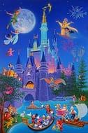 Disneyland Castle/cartoon Characters - Photo Fridge Magnet