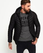 Mens Superdry Micro Quilt Hooded down Jacket Black (XXL)