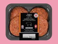 Deluxe 4 British Chipotle Chilli Beef Steak Burgers 454 Gr