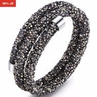SGS 18K White Gold Plated Dark Crystaldust Double Wrap Bracelet