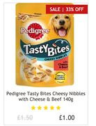 Pedigree Tasty Bites Cheesy Nibbles with Cheese & Beef 140g