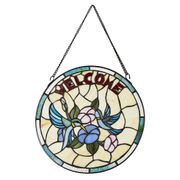 Beautifully Designed Circular Stained Glass Welcome Panel with Bird Decoration