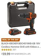 1/2 PRICE: BLACK+DECKER 18V Cordless Hammer Drill with Kitbox and 2 Batteries