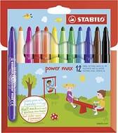 1/2 PRICE - STABILO Power Max - Wallet of 12 Colours - Fibre-Tip Pens
