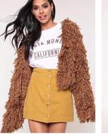 Mustard Button Front A-Line Denim Mini Skirt