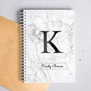 Personalised Notebook - Marble Initial Add an Initial and Name