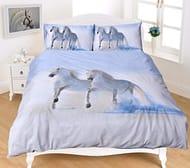 Horses Grey Kingsize Duvet Cover Set