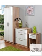 Montreal 3-Piece Ready Assembled 2-Door Wardrobe 3-Drawer Chest & Bedside Table