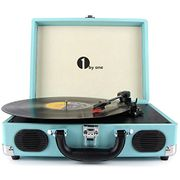 1byone Belt-Drive 3-Speed Portable Vinyl Turntable with Built in Speakers