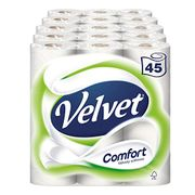 Velvet Comfort Toilet Roll Tissue Paper 45 Rolls (Pack of 5 X 9)