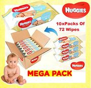 Huggies Pure Baby Wipes - Pack of 10 (10 X 72 Packs, Total 720 Wipes) (One)