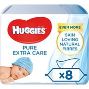 Huggies Baby Wipes, Pure Extra Care Sensitive Baby Wipes, Pack of 8 X 56