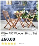 Good Value - Wooden Bistro Set at WILKO ***4.6 STARS***