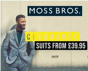 CLEARANCE SUITS at Moss Bros. MASSIVE SAVINGS