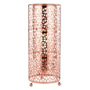 Designer Copper Plated Table Lamp with Laser Cut Hexagonal Design Metal Shade