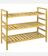 Home Discount 3 Tier Criss Cross Wood Storage Organiser Shoe Stand Rack, Natural