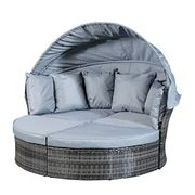 Robert Dyas Monaco Rattan Day Bed with Sun Shade - Save £120