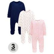 Mini v by Very Baby 3 Pack Spots, Hearts and Stripe Sleepsuits - Multi Coloured