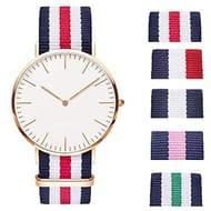 Unisex Watch- Couple Casual Cloth Belt Contrast Color round Quartz Watch