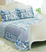 Floral Patchwork Quilted Bedspread 230x240cm and 2 Pillow Shams