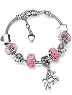 Unicorn Sparkly Pink Crystal Charm Bracelet Bangle with Gift Box Set for Girl